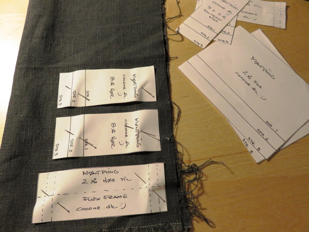 Læg mønsteret på dit stof og klip de antal dele der står.